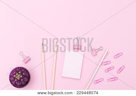 Stationery Pink Rose On A Pink Background. Copy Space