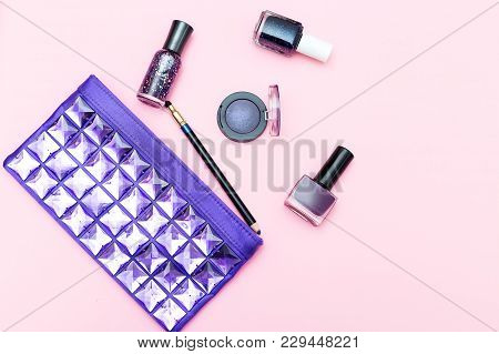 Beauty Of Ultraviolet Color And Cosmetics On A Pink Background. Flat Lay