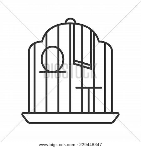 Birdcage Linear Icon. Thin Line Illustration. Parrot Cage. Contour Symbol. Vector Isolated Outline D