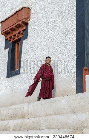 Hemis, India - August 10, 2017: Buddhist Children At The Hemis Monastery, A Tibetan Buddhist Monaste