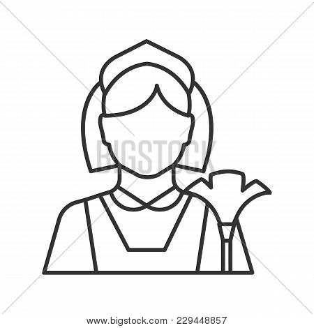 Maid Linear Icon. Cleaner. Housekeeping. Thin Line Illustration. Contour Symbol. Vector Isolated Out