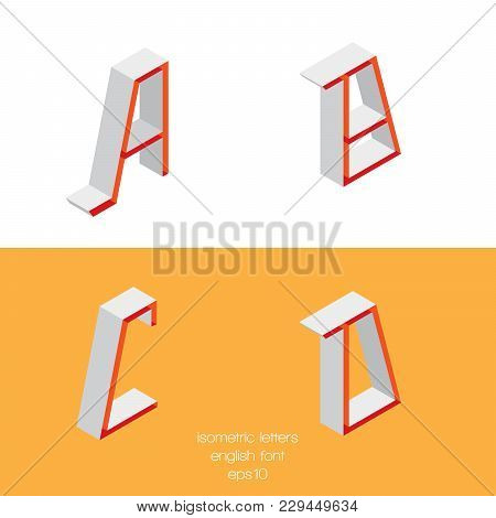 Set Of Vector Isometry Letters A B C D Font Part, Good For Lettering And Writing Quotes
