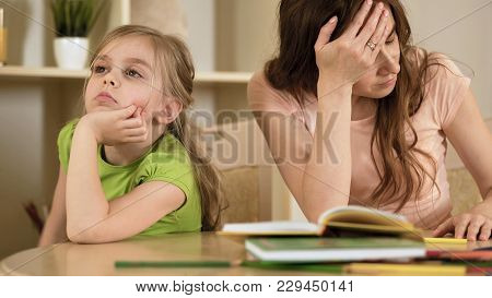 Upset Mother Is Angry To Little Bored Daughter, Homeschooling, Misunderstanding, Stock Footage