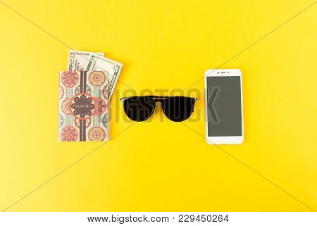 Portrait Of Objects: All You Need In Journey, Voyage Or Travel. Passport, Camera, Sunglasses And Sma