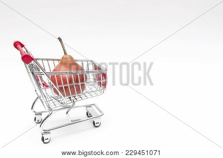 Buying A Pear From Supermarket, Pear In Shopping Cart, Shoping Cart Isolated On White Background