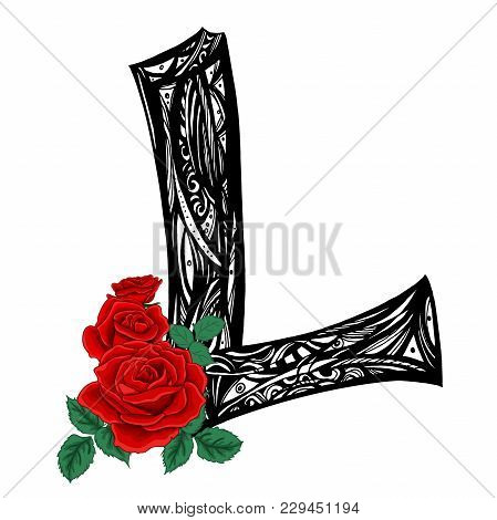 Capital Letter L. Large Letter. Black And White Pattern With Scarlet Roses. The Concept Of A Tattoo