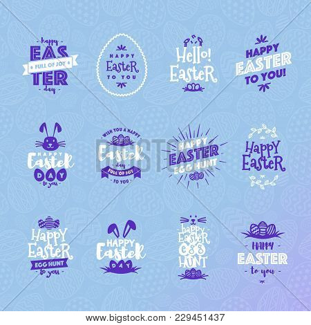 Easter Emblem Set White Blue Color Isolated On Background Typography Style For Greeting Card Text Te