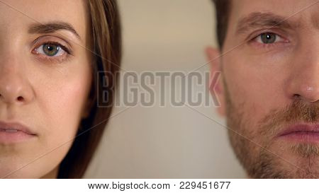 Male And Female Half Face Looking Into Camera, Gender Equality, Opinion Poll, Stock Footage