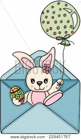 Scalable Vectorial Representing A Easter Bunny Going Out Envelope, Element For Design, Illustration