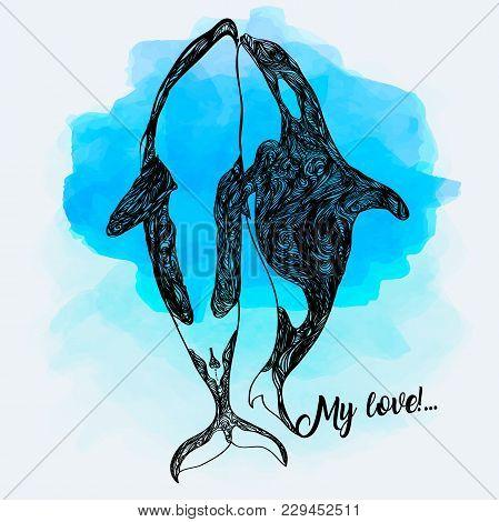 Killer Whale Doodle Illustration. Fantasy Sketch. Hand Drawn Vector Illustration. The Concept Of A T