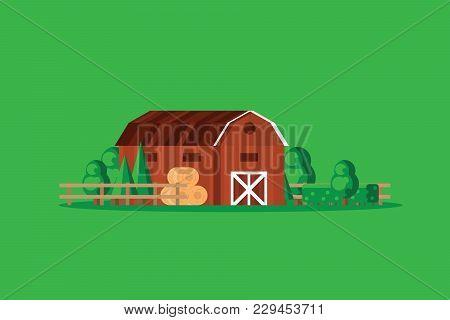 Farm Barn With Haystacks On Green Background Vector Illustration. Farming Wooden Barn At Summer Vila