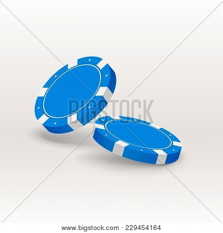 Illustration Of Two Blue Poker Chips In The Air With Soft Shadow On Bright Background