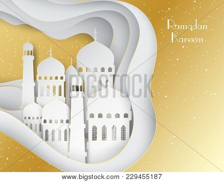 Vector 3d White And Golden Paper Mosque. Ramadan Kareem Greeting Card With Arabic Origami Mosque. Ho