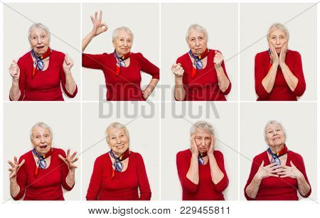 The Collage From Different Emotions Of Senior Woman. Old Woman With Surprised Expression On Her Face