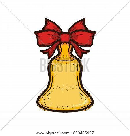 Gold Retro School Bell With Red Bow Isolated On White. Hand Drawn Illustration Equipment For Educati