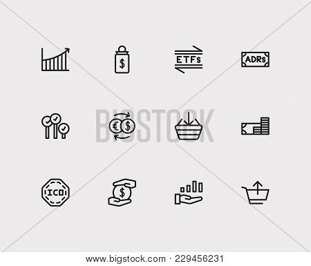 Financial Icons Set. Rally And Financial Icons With Exchange, Etfs And Buy. Set Of Elements Includin