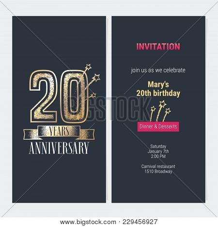 20 Years Anniversary Invitation To Celebration Event Vector Illustration. Design With Gold Number An