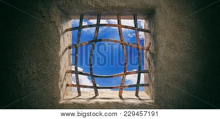 Escape, Freedom. Prison, Jail Window, Blue Sky View, Rusty Open Bended Bars On Old Wall Background.