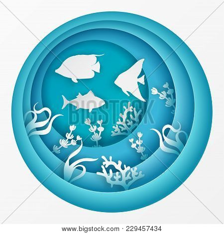 Paper Underwater Sea Cave With Fishes, Coral Reef, Seabed In Algae. Paper Cut Deep Style Vector.  De