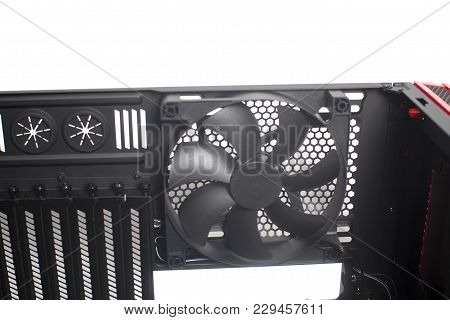 Desktop Empty Computer Case With Cooler Fan Isolated