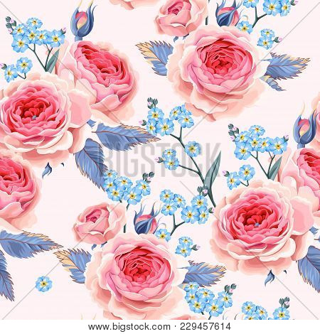 Vintage Roses And Forget-me-not Flowers Vector Seamless Background