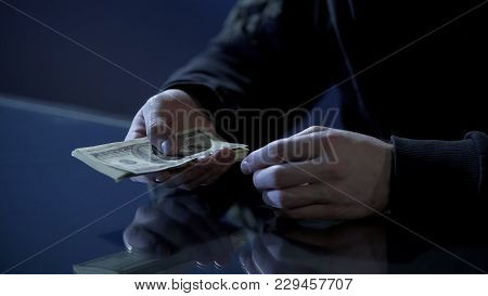 Male Hands Holding Money, Illegal Payments, Cash For Contract Killing Closeup, Stock Footage