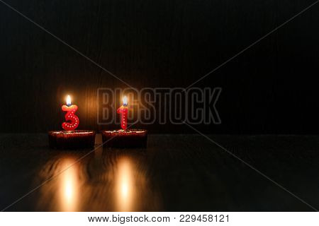 Mini Cupcakes For Your Birthday. 31 Years. Candles, Reflection Fire