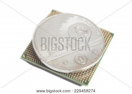 Central Processing Unit Cpu Microchip With Bitcoins On White