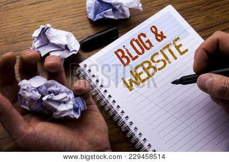 Word, Writing Blog  Website. Concept For Social Blogging Web Written On Notebook Notepad Note Paper