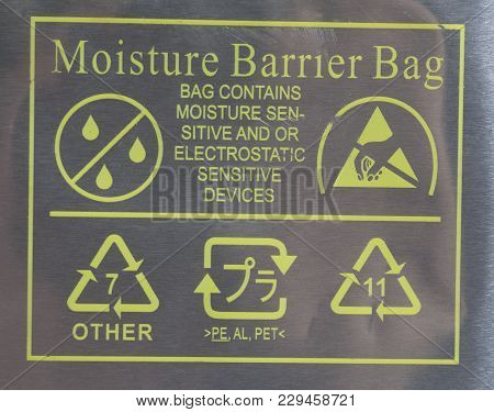 Packet With Label Moisture Barrier Bag Mail Post Signs Close Up