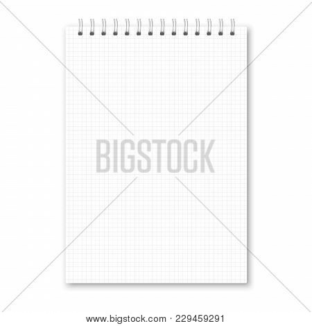 Vector Realistic Closed Notebook. Vertical White Metallic Silver Spiral Bound Blank Copybook Cell Li