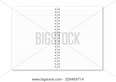 Vector Realistic Opened Notebook. Vertical White Metallic Silver Spiral Bound Blank Copybook Lined.