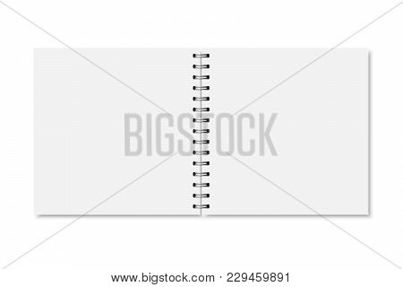 Vector White Realistic Opened Notebook Cover. Square Blank Notebook, Copybook, Brochure, Menu With M