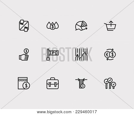 Trading Icons Set. Chart And Trading Icons With Exchange, Stock Market And Sell. Set Of Elements Inc