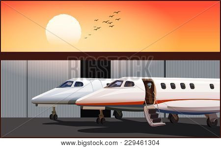 Stylized Luxury Business Jet At Sunset Parked In Front Of Hangar