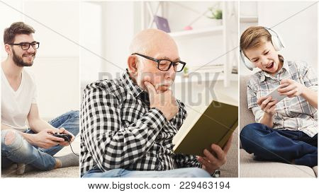 Set Of Diverse People Of All Ages Having Rest. Young Boys Playing Games And Senior Man Reading Paper