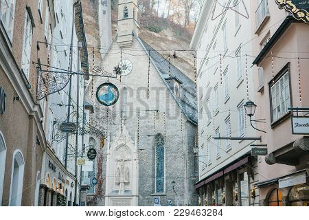 Austria, Salzburg, January 1, 2017: Architecture Of The Austrian City Of Salzburg. Houses With Signs