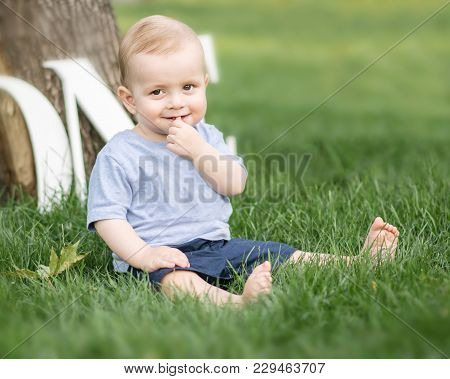 A Smiling Adorable Small Baby Boy Holding A Finger In His Mouth Sitting On Green Grass Outdoor At Su