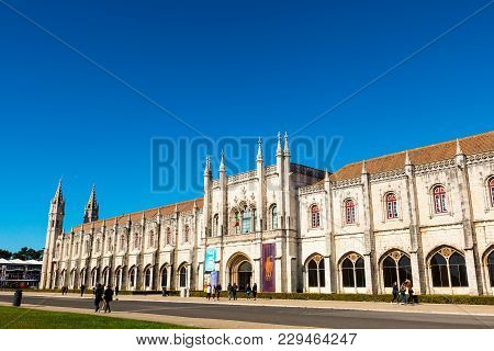 Lisbon , Portugal - February 7:  The Jeronimos Monastery Or Hieronymites Monastery In Belem Area Of