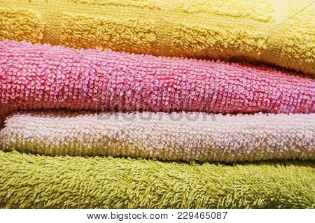 Multicolored Towels, Folded Horizontally On Each Other