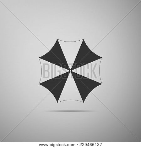 Sun Protective Umbrella Fo Beach Icon Isolated On Grey Background. Large Parasol For Outdoor Space.