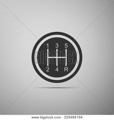 Gear Shifter Icon Isolated On Grey Background. Transmission Icon. Flat Design. Vector Illustration