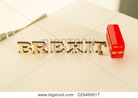 Kyiv, Ua, 17.11.2017. Britain Exit From European Union, Brexit Word Abstract In Vintage Letters, Bac