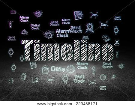 Timeline Concept: Glowing Text Timeline,  Hand Drawing Time Icons In Grunge Dark Room With Dirty Flo