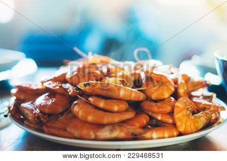 Isolated Prepared Orange Shrimp On Background Table On Kitchen, Closeup Of Fresh Prawn Products In R