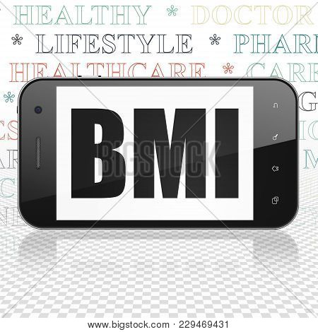 Health Concept: Smartphone With  Black Text Bmi On Display,  Tag Cloud Background, 3d Rendering