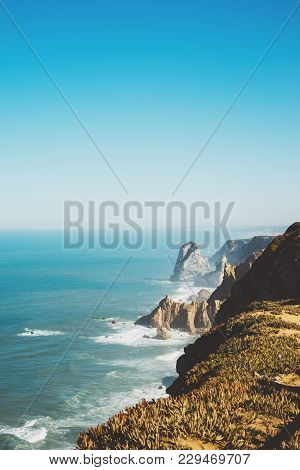 Observation Deck In Trip Holiday In Cape Roca Portugal, Top View On Seascape On Mountain And Island