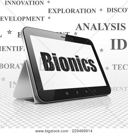 Science Concept: Tablet Computer With  Black Text Bionics On Display,  Tag Cloud Background, 3d Rend