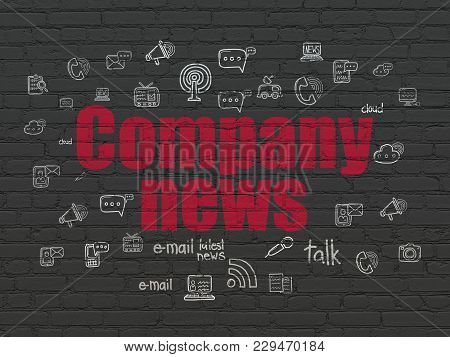 News Concept: Painted Red Text Company News On Black Brick Wall Background With  Hand Drawn News Ico