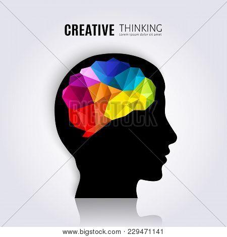 Creative Mind. Concept Of The Human Brain Inside Black Head Profile. Polygon Style. Vector.